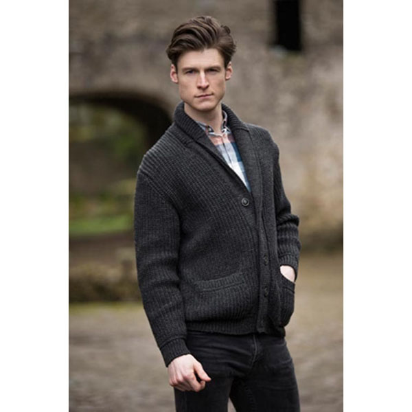 Ribbed Two-Tone Shawl Collar Cardigan | Irish Central Store