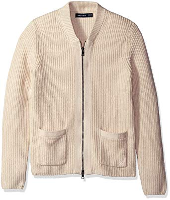 Nautica Men's Zip Front Shawl Collar Cardigan at Amazon Men's