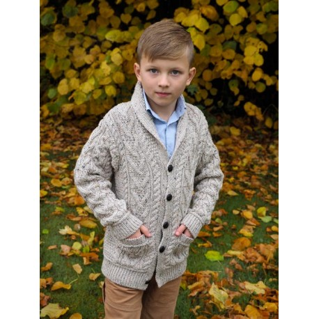 Children's Irish Shawl Collar Cardigan | Irish Central Store