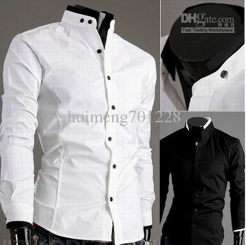 2019 Stand Up Collar Long Sleeved Shirt Collar Hit Color Cotton Men