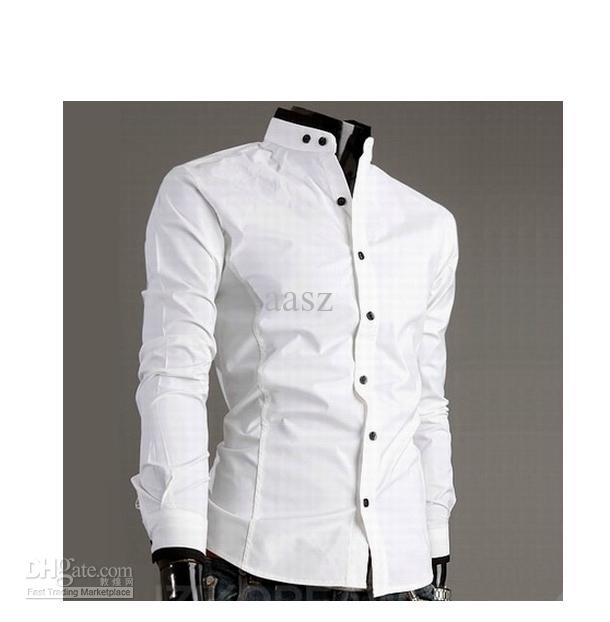 2019 Stand Up Collar Long Sleeved Shirt Collar Hit Color Cotton