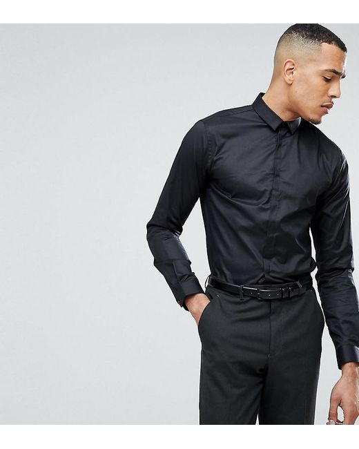 Noak Skinny Shirt With Concealed Placket in Black for Men - Lyst