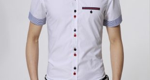 Men Shirt With a Breast Pocket Slim Fit Button Up Shirt Striped Cuff