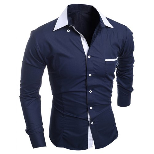Contrast Collar Breast Pocket Button-Down Shirt - $34.60 Free