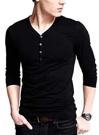 Neonysweets Mens Long Sleeve Henley Shirts with Button Placket at