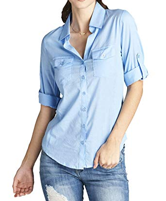 ATTItude Women's Button Down Shirts Blouse with Roll-up Sleeve, Full