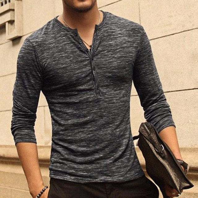 Hot New Henley Shirts for Mens Long Sleeve Tops Tee Stylish Slim Fit