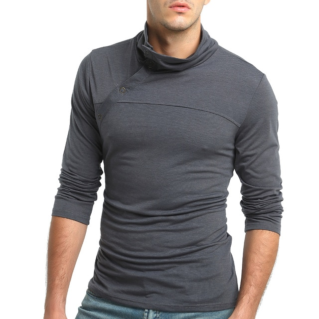 Fashion Men T Shirts Casual Slim Fit Long Sleeve High Collar T Shirt