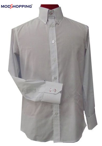 tailor made 100% cotton high collar white shirt for men