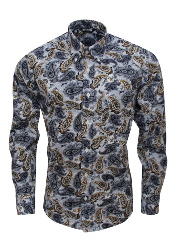 Relco Grey Shirt With Black And Gold Paisley Pattern - Shirts And Things