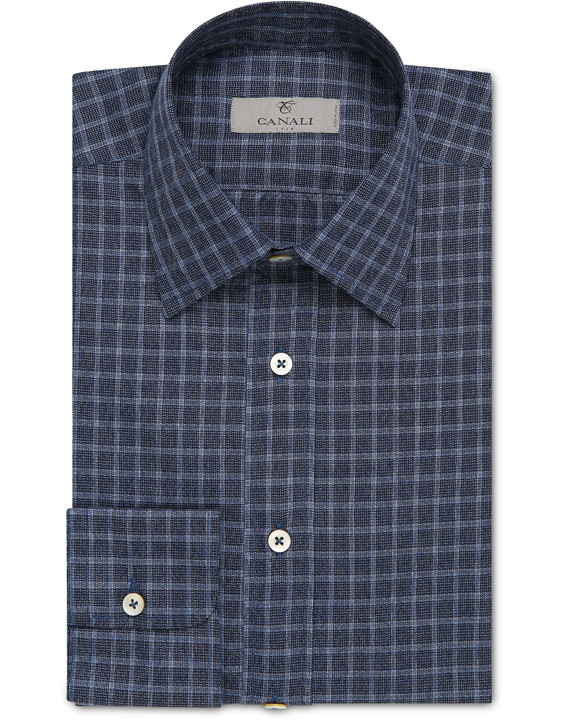 Elegant blue cotton casual shirt with textured Vichy check for men