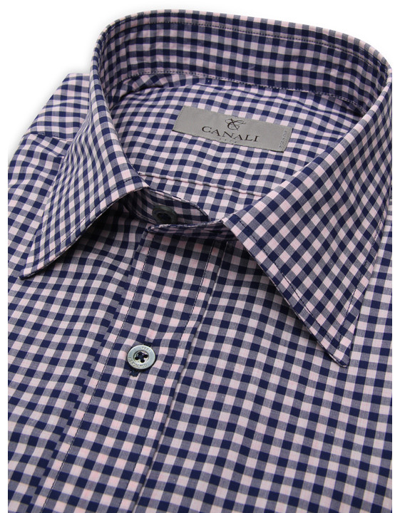 Elegant blue and pink Vichy check cotton shirt for men | Shop at