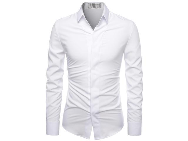 Mens White Wrinkle Free Stretch Hidden Button-Down Dress Shirts