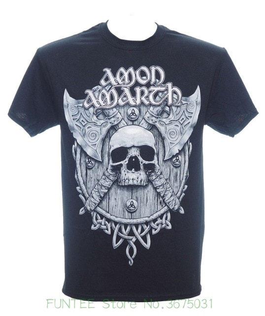 Short Sleeve Mens Formal Shirts Amon Amarth Grey Skull And Shield T