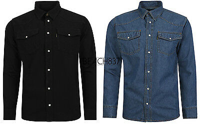 Mens Western Style Press Studs Poppers Pockets Denim Shirt Stonewash