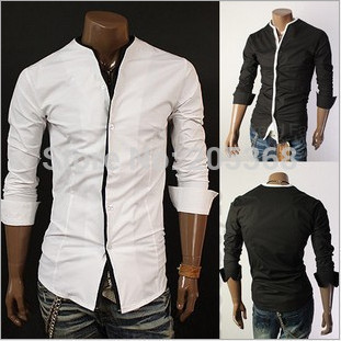 New Men's Shirts Features Without Collar Shirts Casual Slim Fit