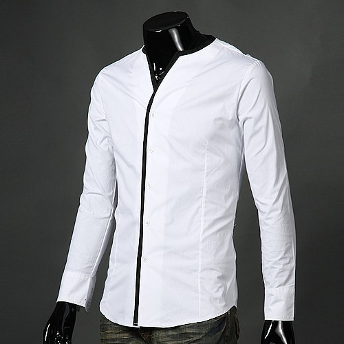 Free Shipping New Men's Shirts,Features Without Collar Shirts,Casual