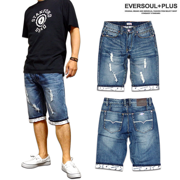 EVERSOUL PLUS: Denim short pants of the denim short pants men five