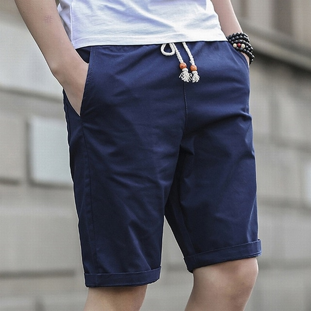Short Pants Men Summer Fashion Men Knee Length Short Casual Black