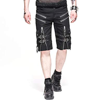 Devil Fashion Punk Men Casual Shorts Rock Zipper Summer Black Short