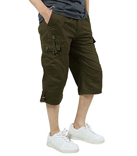 Amazon.com: FASKUNOIE Men's 3/4 Cotton Cargo Short Pants Casual