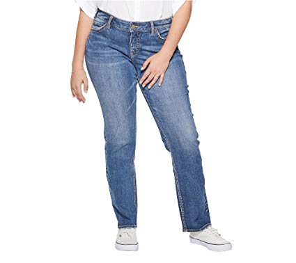 Silver Jeans Co. Women's Plus Size Suki Curvy Fit Mid Rise Straight