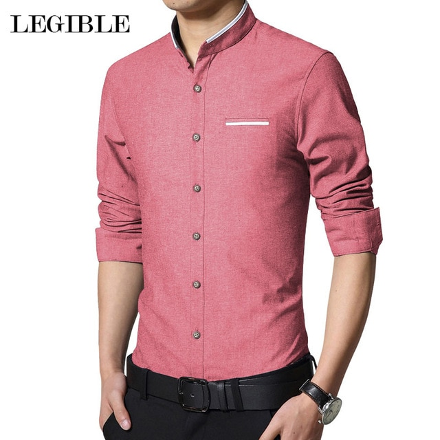 Legible New Fashion Casual Men Shirt Long Sleeve Mandarin Collar