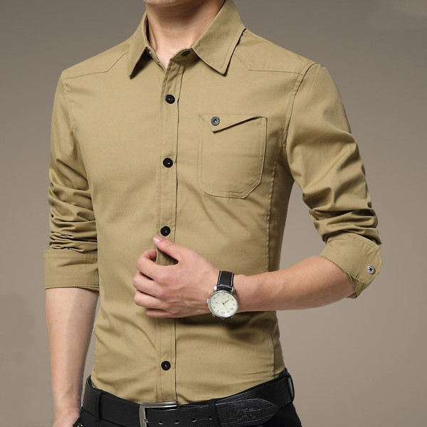 mens casual long sleeves shirts cotton pure color dress slim fit