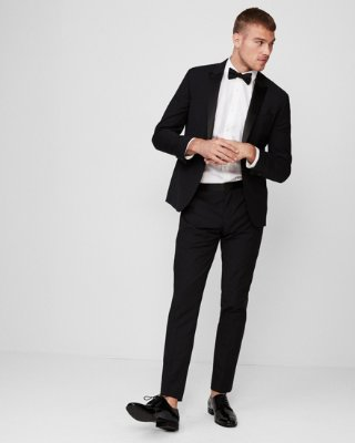 Extra Slim Black Wool-blend Performance Tuxedo Pant | Express