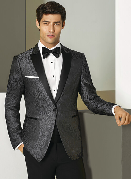 Ike Behar Slim Fit Charcoal Paisley Tuxedo | Louie's Tux Shop