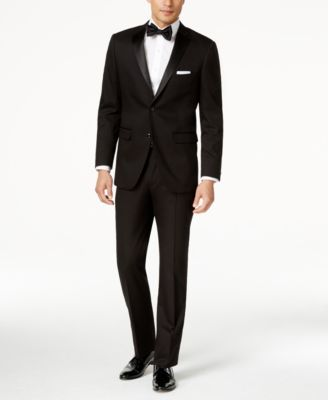 Perry Ellis Portfolio Solid Black Slim-Fit Tuxedo & Reviews - Suits
