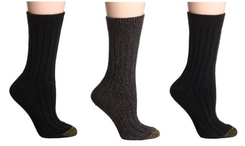 Gold Toe Women's 3-Pack Weekend Sock, Black Assortment 9-11 (Shoe