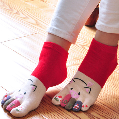 Antibacterial toe socks female cotton cute cotton socks thin models