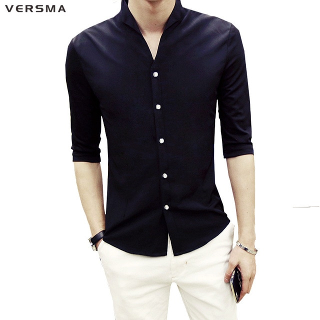 VERSMA 2017 Half Sleeve Men Solid Color Stand Collar Shirt Men