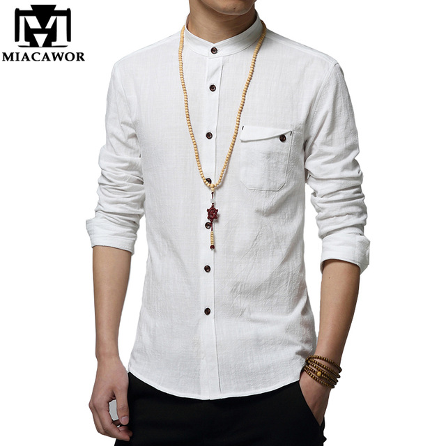 MIACAWOR Cotton Linen Men Shirt New 2018 Stand Collar Casual Male