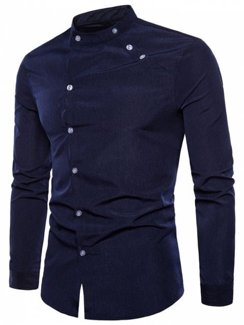 17% OFF] 2019 Long Sleeve Oblique Button Design Stand Collar Shirt