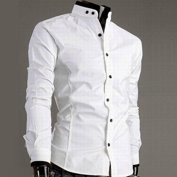 Trendy Series Stand Collar Long Sleeve Men Dress Shirt