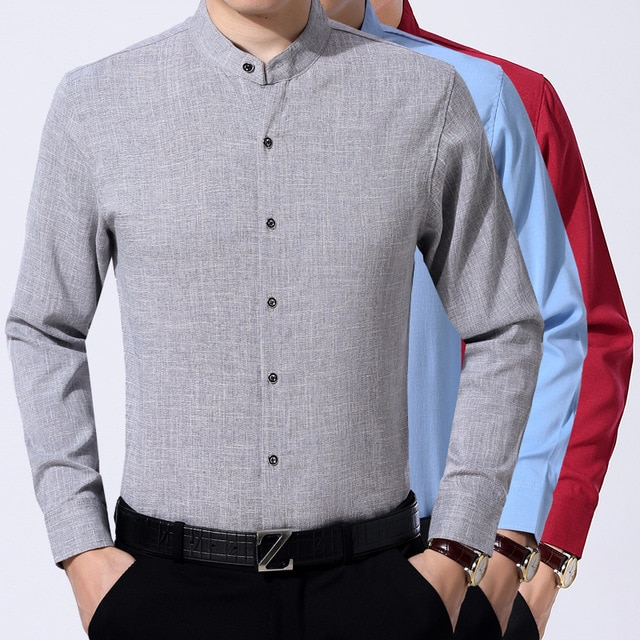 New autumn mens fashion stand up collar dress shirt long sleeve male