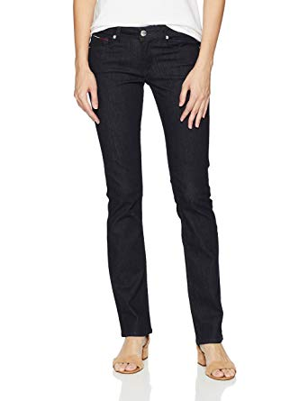 Tommy Hilfiger Women's Straight Leg Sandy Mid Rise Jeans at Amazon