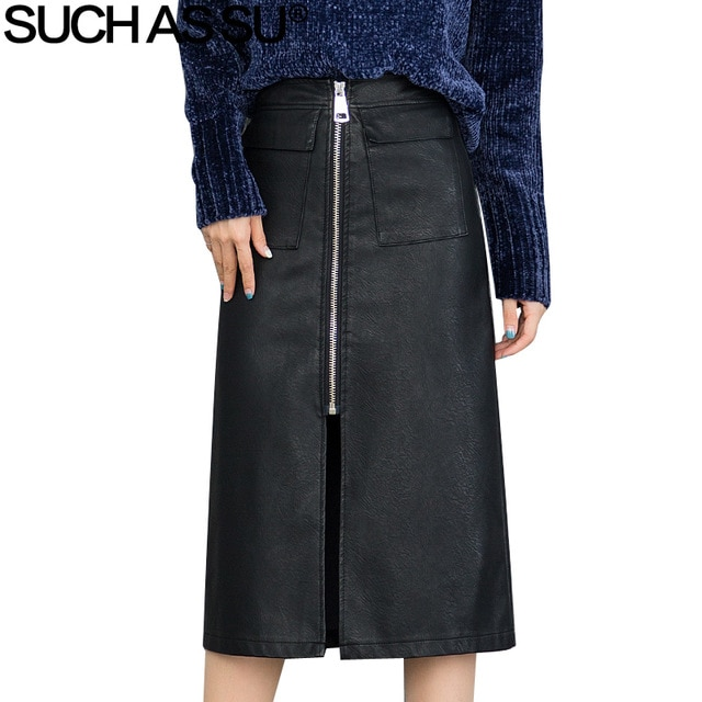 New Fashion PU Straight Skirts Womens 2018 Fall Winter Black Brown
