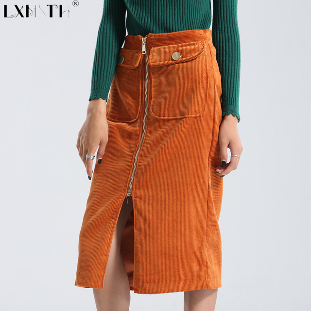 Winter Corduroy Skirt Women Zipper Knee Length Padded Ladies