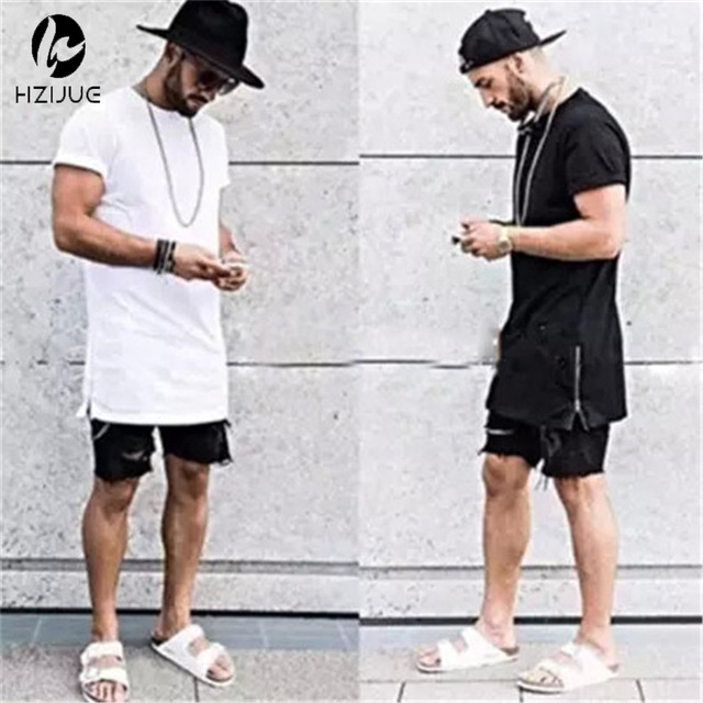 HZIJUE summer style men gold side zipper t shirt streetwear style