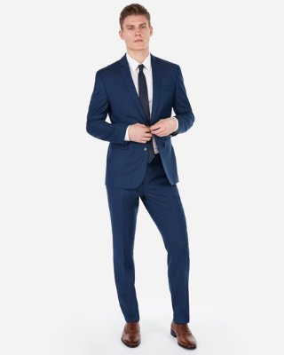Slim Blue Wool-blend Stretch Suit Pant | Express
