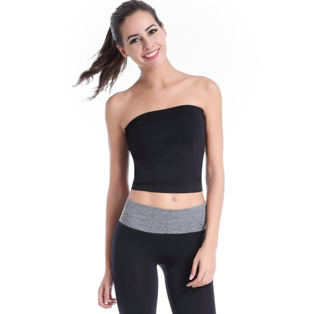 Women Lady Stretch Tops Tank Strapless Bra Yoga Sports Fitted Tube