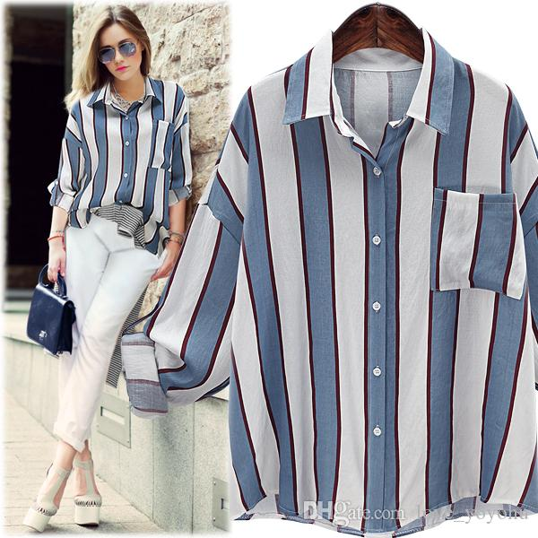 2019 2017 Fashion Women White And Blue Striped Blouses Summer Girls
