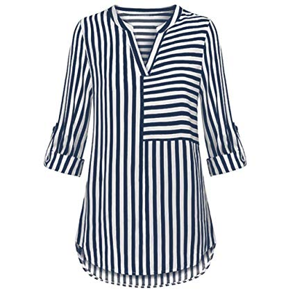 Amazon.com: ManxiVoo Women's Split V Neck Cuffed Sleeve Striped