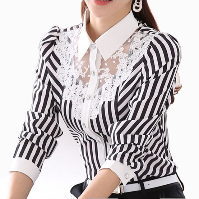 2017 Long Sleeve Lace Tops Striped Blouse Women Spring Autumn Turn