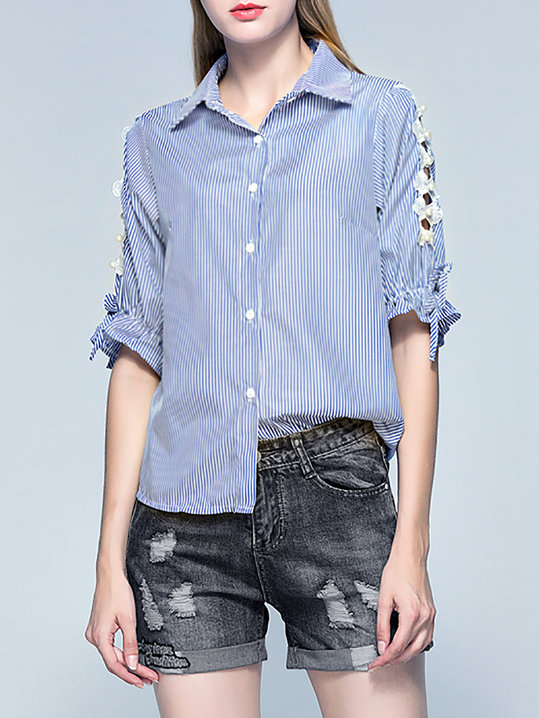 Half Sleeve Casual Beaded Striped Blouse - StyleWe.com