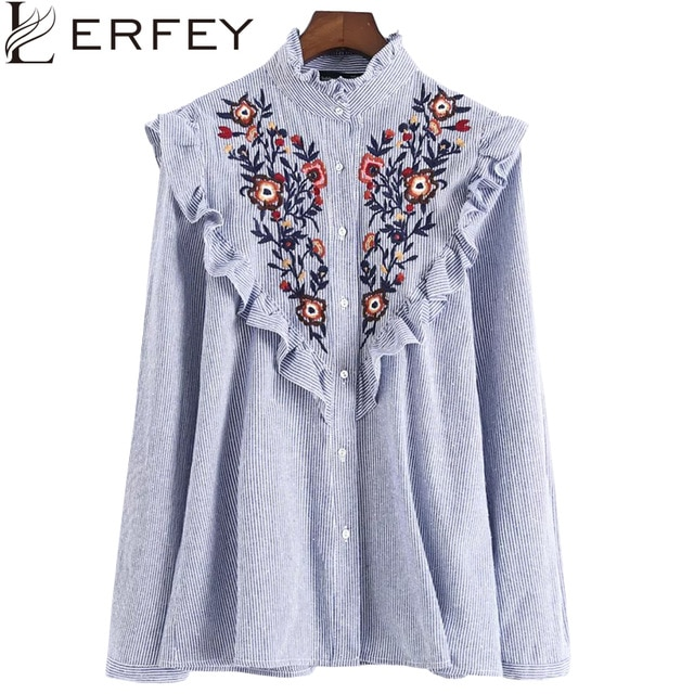 LERFEY Women Embroidery Floral Blouse Shirt Ruffles Office Ladies