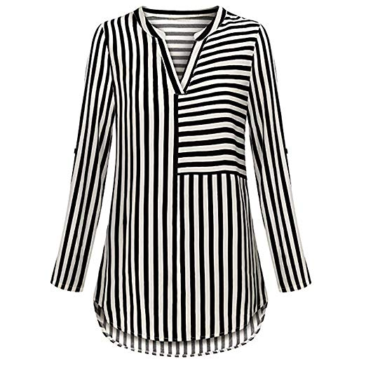 HOSOME Women Chiffon Striped Blouses Split V Neck Cuffed Sleeve